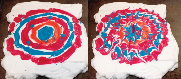 The left side shows how I painted and dripped onto the shaving cream. The right shows the patterns I made with a toothpick.