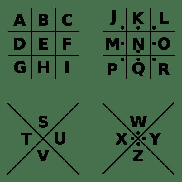 From: http://stevenchambers.files.wordpress.com/2010/03/pigpen-cipher.png