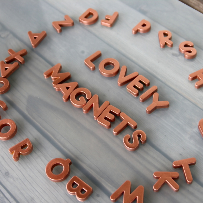 From: http://kojo-designs.com/2013/11/diy-metallic-alphabet-magnets/